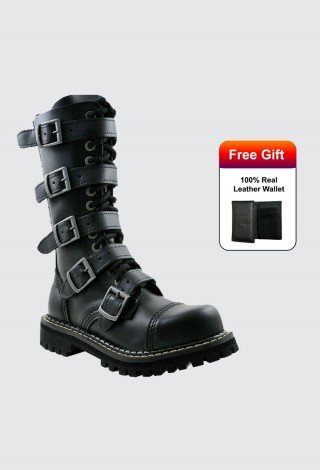 Angry Itch 14 Hole Punk Black Buckle Leather Army Ranger Boots Steel Toe Zip AI14Z-5B/B/LE