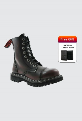 Angry Itch Boots 8 Hole Punk Burgundy Leather Army Ranger Boots With Steel Toe AI08 /BR /LE