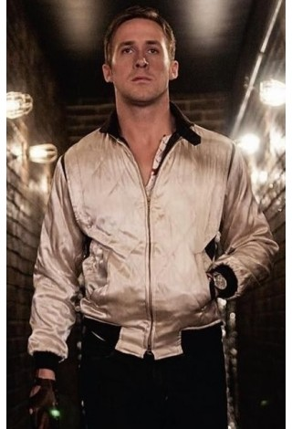 'DRIVE' Movie Inspired GOLD Beige SCORPION Men's Satin Fitted RYAN GOSLING Jacket 4011