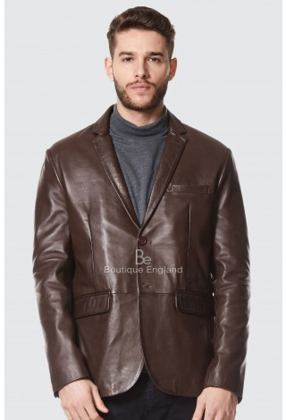 Men's 3450 Brown stylish Millano 2 button CLASSIC BLAZER Soft Real Leather Jacket Coat