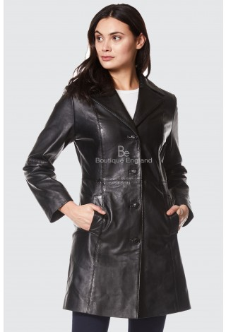 TRENCH LADIES BLACK CLASSIC KNEE-LENGTH DESIGNER REAL NAPPA LEATHER JACKET COAT 3457