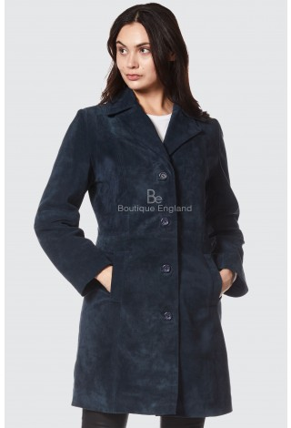 Elegant 3457 Navy Suede Soft Leather Smart Comfort Neat Fit Trench Knee Length Jacket