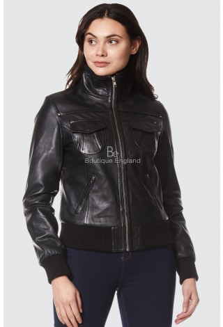 'FUSION' LADIES 3758 Black Napa WASHED SHORT BOMBER BIKER MOTORCYCLE STYLE LEATHER JACKET