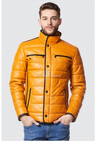 Cage Mens Yellow Quilted Real Leather With Black Trimming Biker Lambskin Jacket A-34
