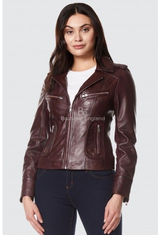 RIDER Ladies cherry Biker Motorcycle Style Soft Real Napa Leather Jacket 9823