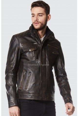 New Men's Vintage Casual Style Soft Nappa Real Leather Jacket 1501
