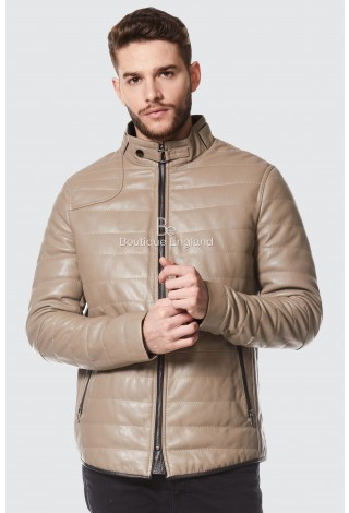 Men's Quilted Stone Beige Jacket | Italian Leather Fashion Icon Jacket NV-89