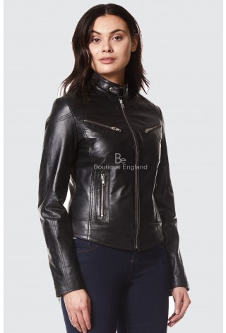 NEW 'SPEED' LADIES BLACK RETRO BIKER STYLE FITTED MOTORCYCLE LEATHER JACKET SR-01