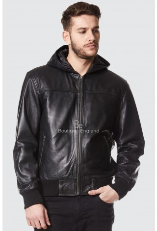 Men's Black Hooded Bomber Fitted Stylish Retro Real Napa Leather Jacket 3252