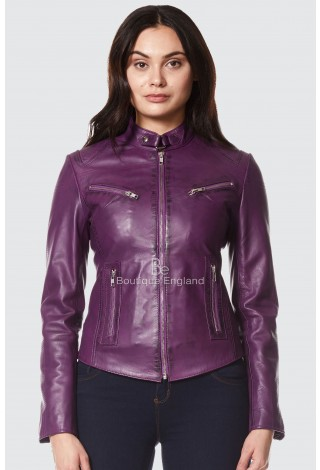New 'SPEED' Ladies Purple Retro Biker Style Fitted Motorcycle Leather Jacket sr-01