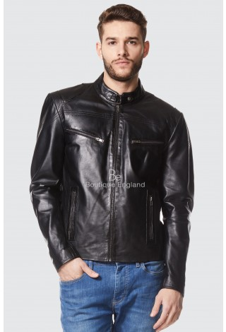 Mens Leather Jacket Black Cool Retro Motorcycle Style | 100% REAL LEATHER SR-02