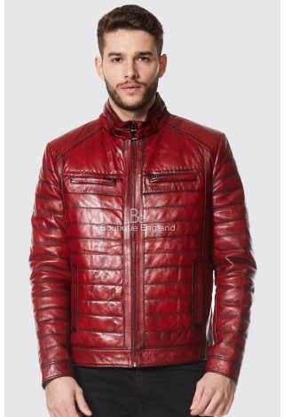 Usher Raymond Rock Star Quilted Red Real Napa Leather Fashion Biker Jacket 9050