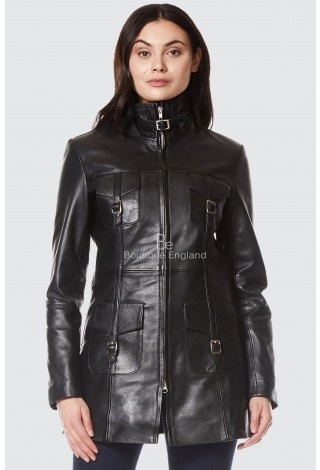 'MISTRESS' Ladies Black Gothic Style Fitted Real Lambskin Leather Jacket Coat 1310