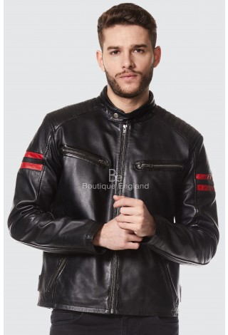 New Men's Black With Red Stripes Zip Retro Casual Biker Racing Real Napa Leather jacket 4185