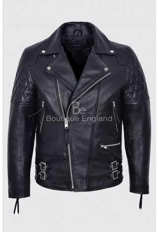 RECKLESS Men's Black Cowhide Biker Style Motorcycle Real Leather Jacket 233