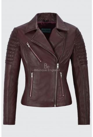 Ladies Real Leather Jacket Cherry Stylish Fashion Designer Soft Biker Style 9334