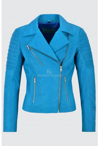 Ladies Real Leather Jacket Electric Blue Stylish Fashion Designer Soft Biker Style 9334
