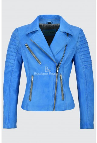 Ladies Real Leather Jacket Blue Crust Stylish Fashion Designer Soft Biker Style 9334