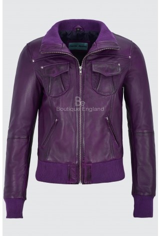 Ladies Leather Jacket Purple Bomber Motorcycle Style REAL LEATHER JACKET 3758