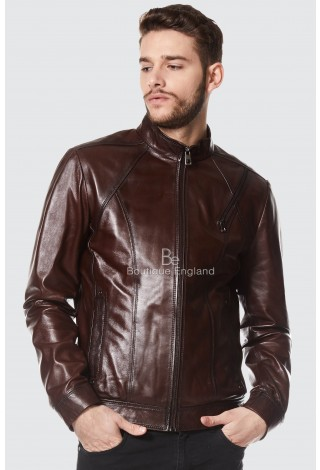 """GEORGE CLOONEY""REAL LEATHER BROWN JACKET BIKER STYLE CASUAL NAPA 1802"