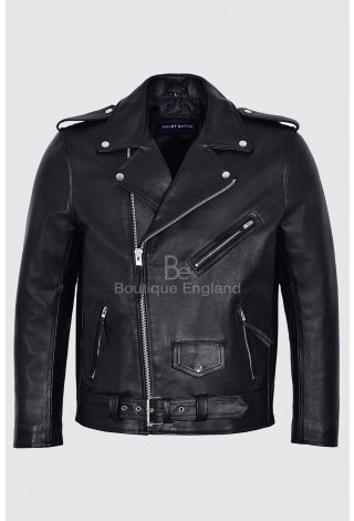 Mens Brando Leather Jacket Motorcycle Perfecto Black Cowhide Marlon Biker Jacket Biker Style Men's MBF BLACK Classic Cowhide Rider Movie Inspired Jacket