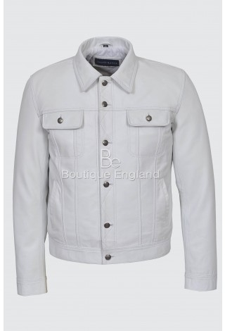 """TRUCKER"" Men's White Napa Real Lamb Leather Casual Denim Style Button Western Jacket 1280"