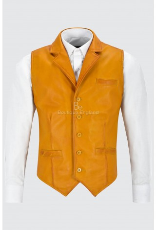 Men's Real Leather Waistcoat Party Fashion Yellow Napa Casual Business Suit Vest 1349