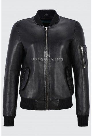 Designer Leather Jacket Ladies Black Retro Bomber Style Casual and Classic 2348