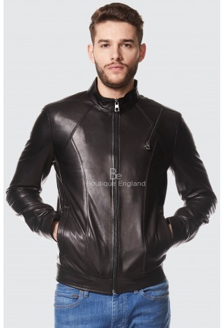 Men's Real Leather Jacket Black Casual Napa Biker Motorcycle Style 1802-T