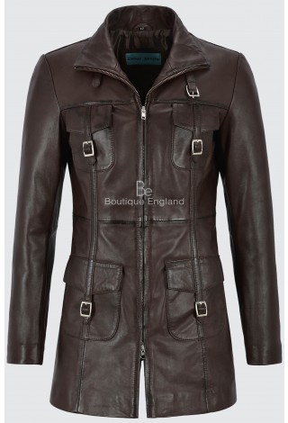 MISTRESS Ladies 1310 Brown Gothic Style Fitted Real Lambskin Leather Jacket Coat