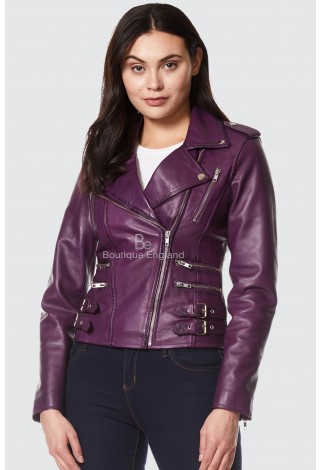 Ladies Leather Jacket Purple Casual Biker Style REAL SOFT LEATHER 7113