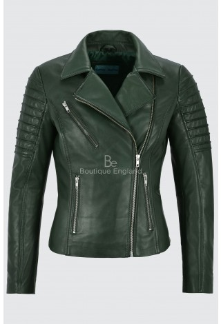 LADIES GREEN NAPA STYLISH FASHION DESIGNER BIKER SOFT REAL LEATHER JACKET 9334