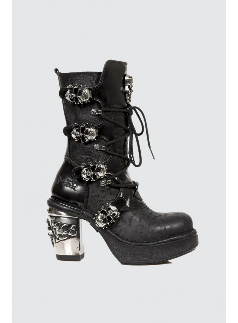 NEWROCK New Rock 8366 S1 Ladies Black Skull Vintage Flowers Leather Trail Boots