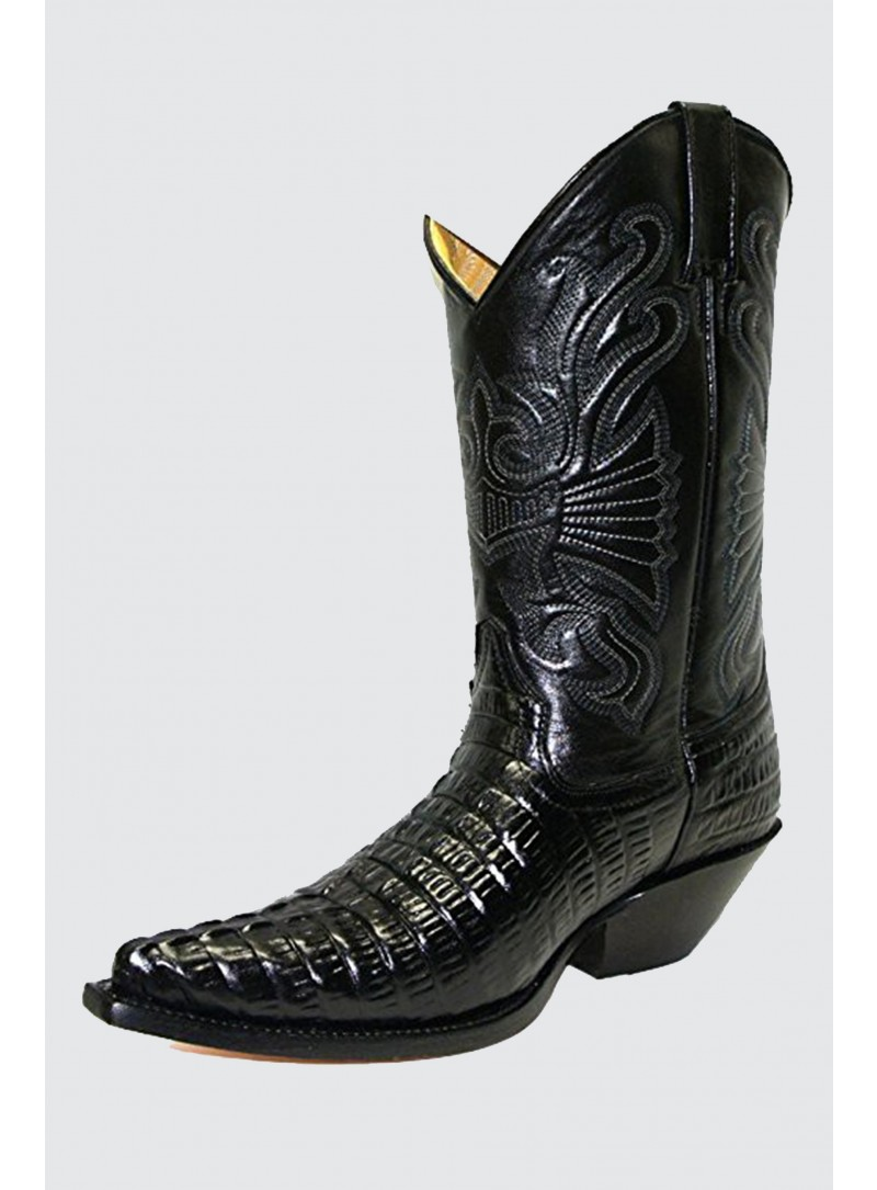 Grinders Carolina Black Leather Crocodile Tail Boot Cowboy Western Boots