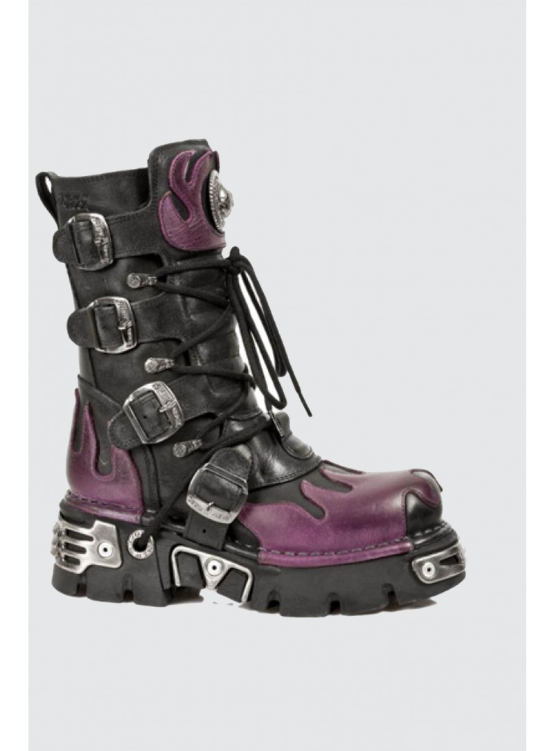 New Rock 591-S3 PURPLE FLAME METALLIC BLACK LEATHER BIKER GOTH BOOTS