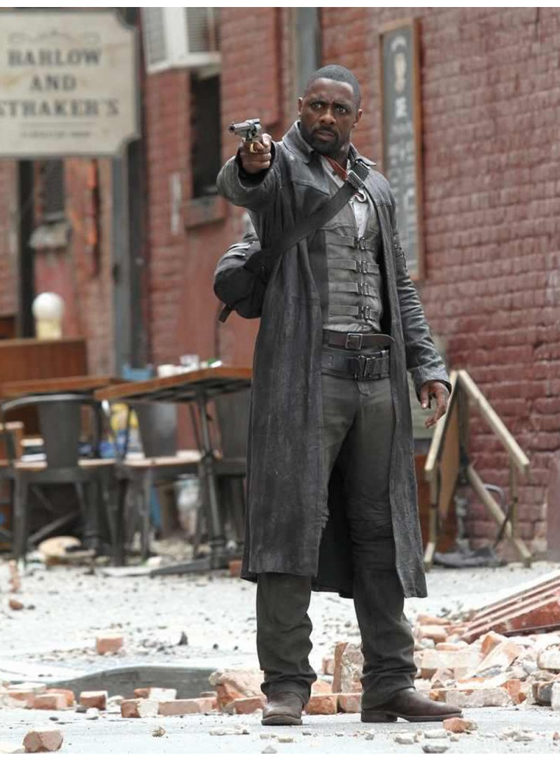 The Dark Tower leather Long Coat Men Black Napa Idris Elba Roland Deschain Full Length Gunslinger New 3594