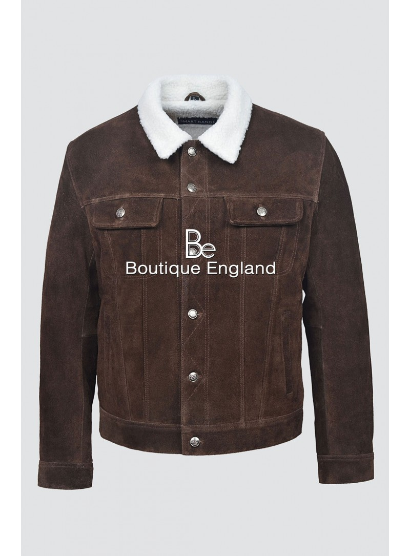 'TRUCKER' MEN'S 1280 Brown SUEDE WITH SHEARLING FUR CLASSIC REAL SOFT COW WESTERN LEATHER JACKET