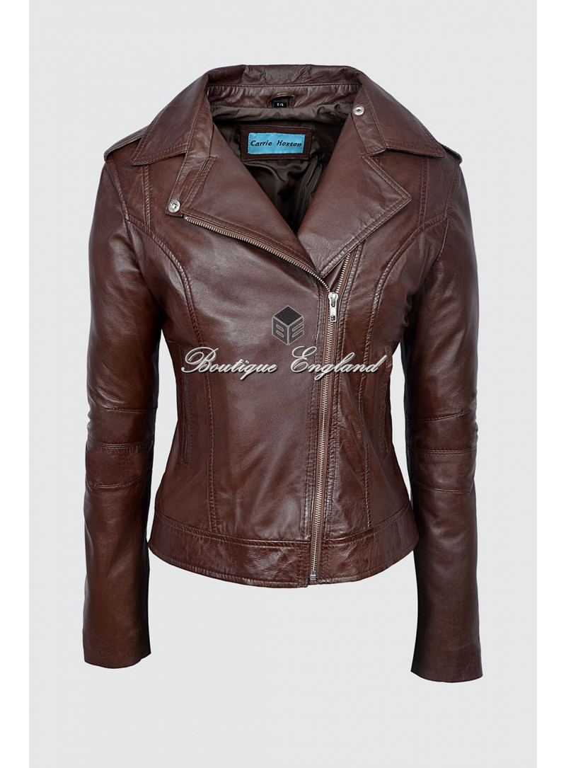 Ladies Model BRANDO Brown Napa Wax Fashion Biker Style Soft Leather Rock Jacket 442
