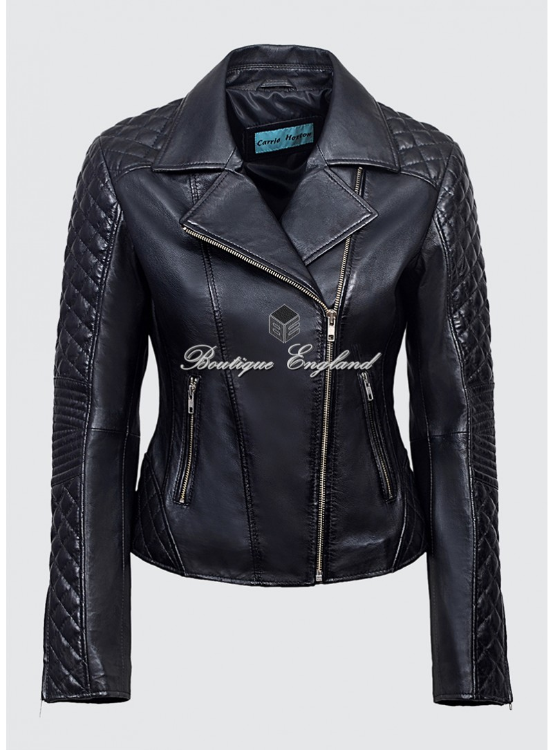 Ladies JESSIE Black Stylish Fashion Designer Quilted Soft Real Leather Jacket