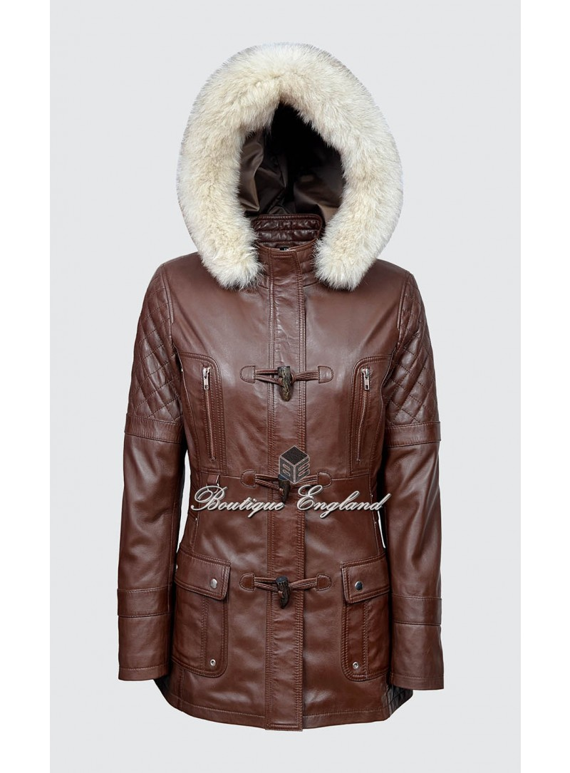 Ladies Brown Fur Hood Slim Fit Soft Casual Style Fashion Leather Jacket 1165