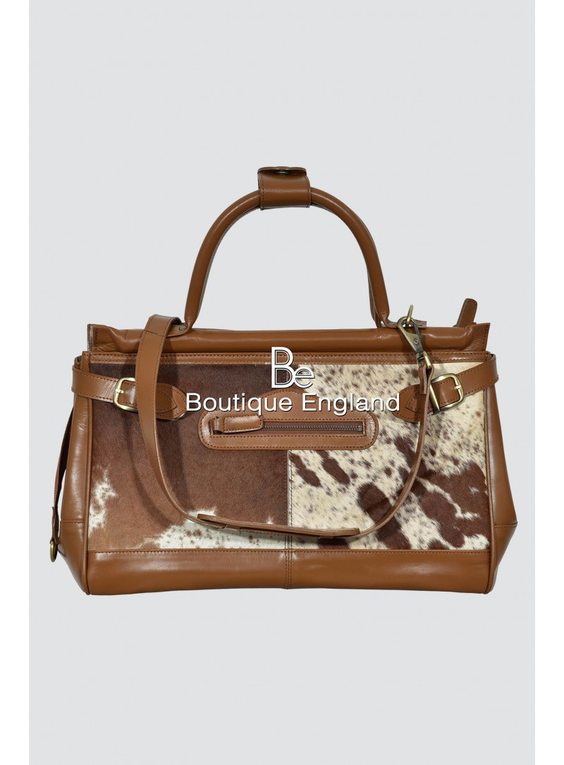 New Ladies Stylish Gladstone Tan COW Printed Fur Real Cow Leather Hand Bag