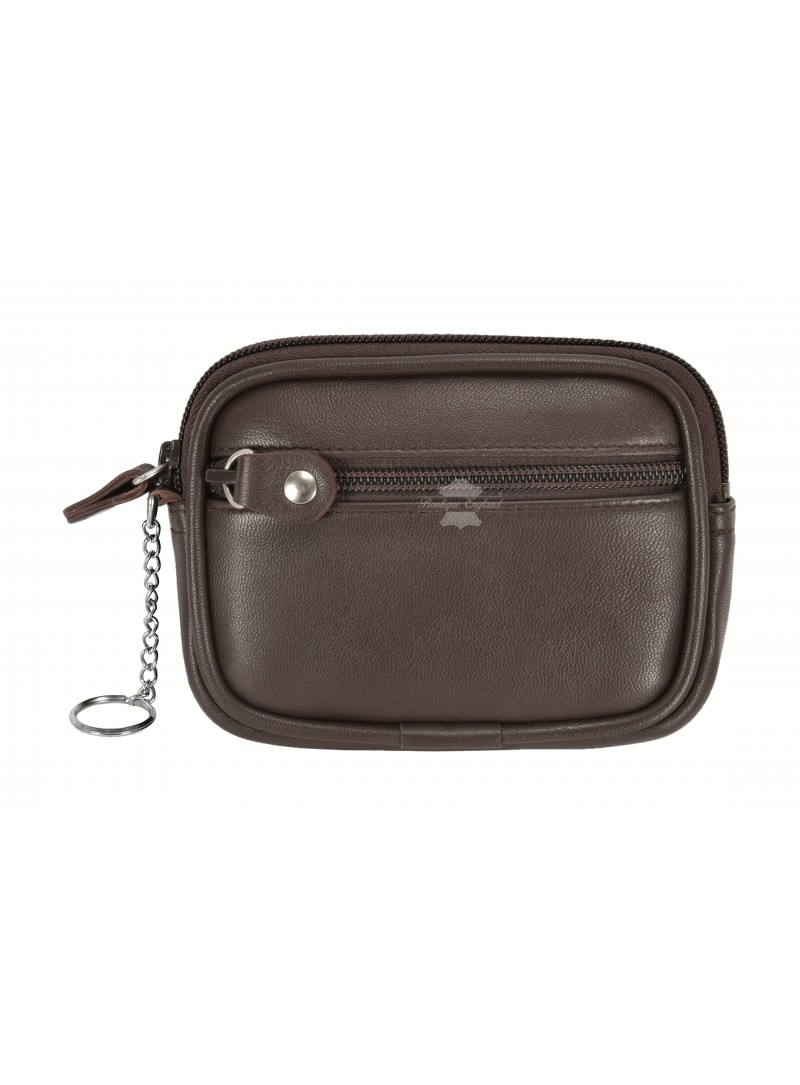 Pouch UNISEX ZIP POCKET COIN CARD HOLDER WALLET Brown Real Leather Zip Pouch 1120