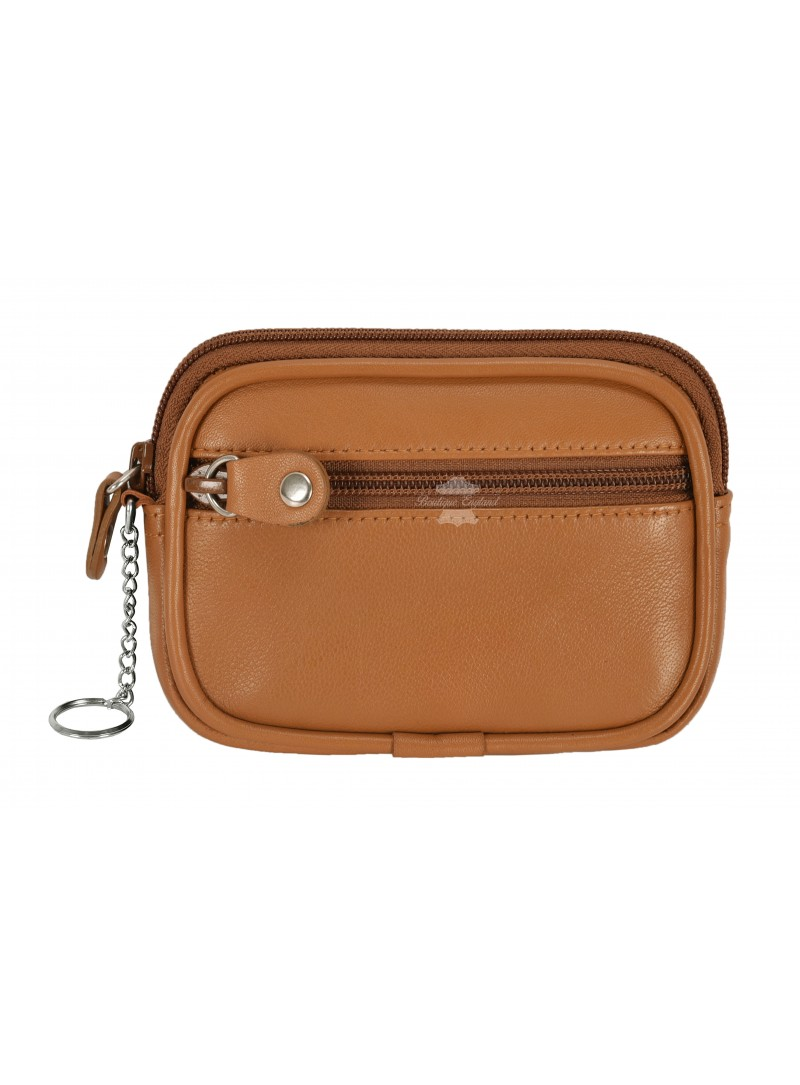POUCH UNISEX ZIP POCKET COIN CARD HOLDER WALLET TAN REAL LEATHER ZIP POUCH 1120