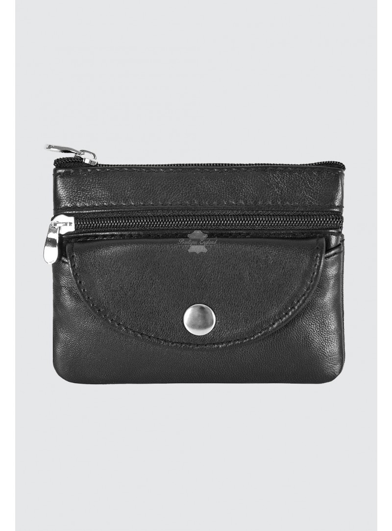 Ladies Pouch Genuine Leather Black Small Coin Card Wallet Zip Pouch Purse 1330
