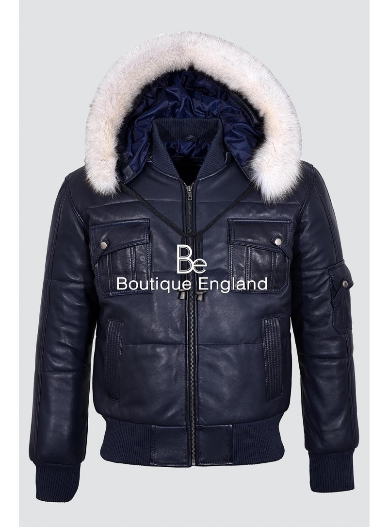 Men's PILOT SIX PUFFER Navy Blue Hooded Bomber Genuine Real Leather Jacket