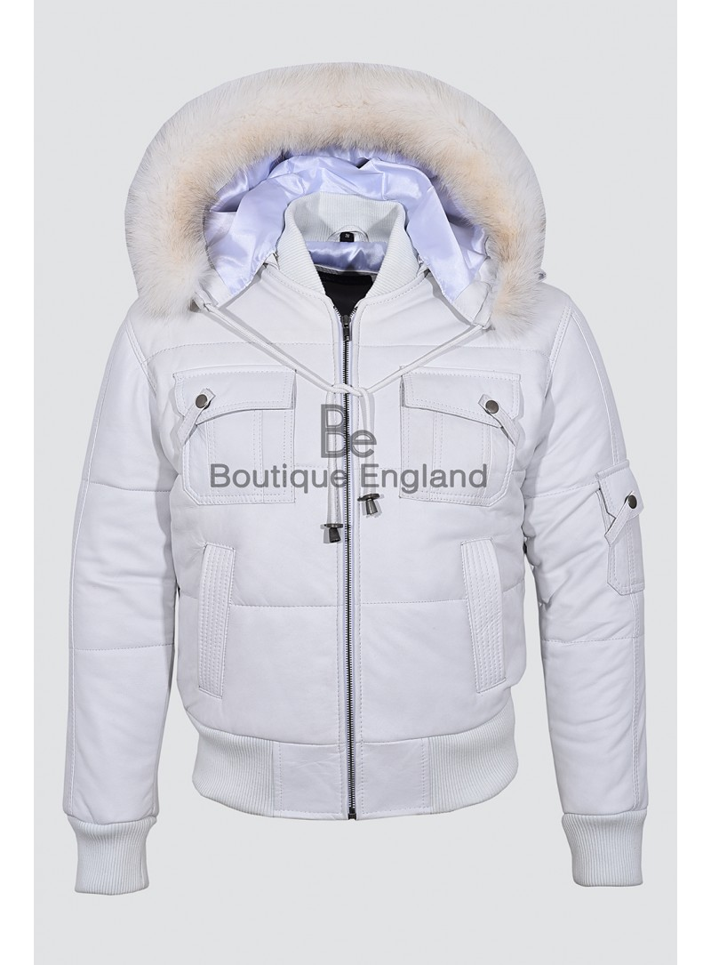 PILOT SIX PUFFER White Men's Hooded Bomber Genuine Real Lambskin Leather Jacket