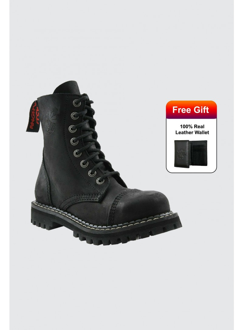 Angry Itch Boots Vintage Black Leather Combat Boots 8 Hole Punk Army Steel Toe AI08/VB/LE