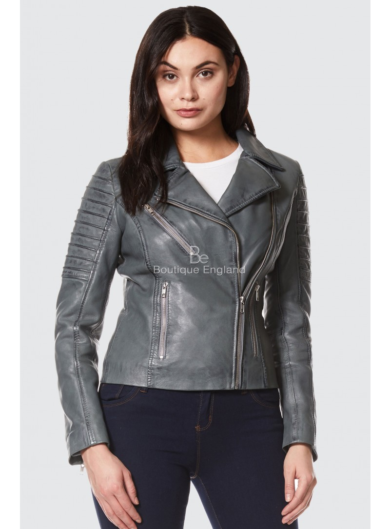 Ladies Grey Napa Stylish Fashion Designer Biker Soft Real Leather Jacket 9334