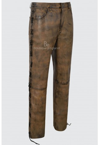 Men/'s Biker Leather Trouser Dirty Brown Laced Motorcycle Style 100/% Napa 00126