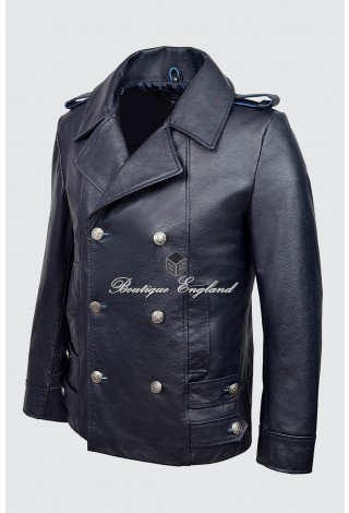 0dc5be2c1d7c1 GERMAN NAVAL Navy Blue Men s Classic Reefer Military Hide Leather Coat  Jacket